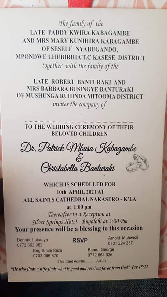 Patrick Kabagambe absconds from wedding