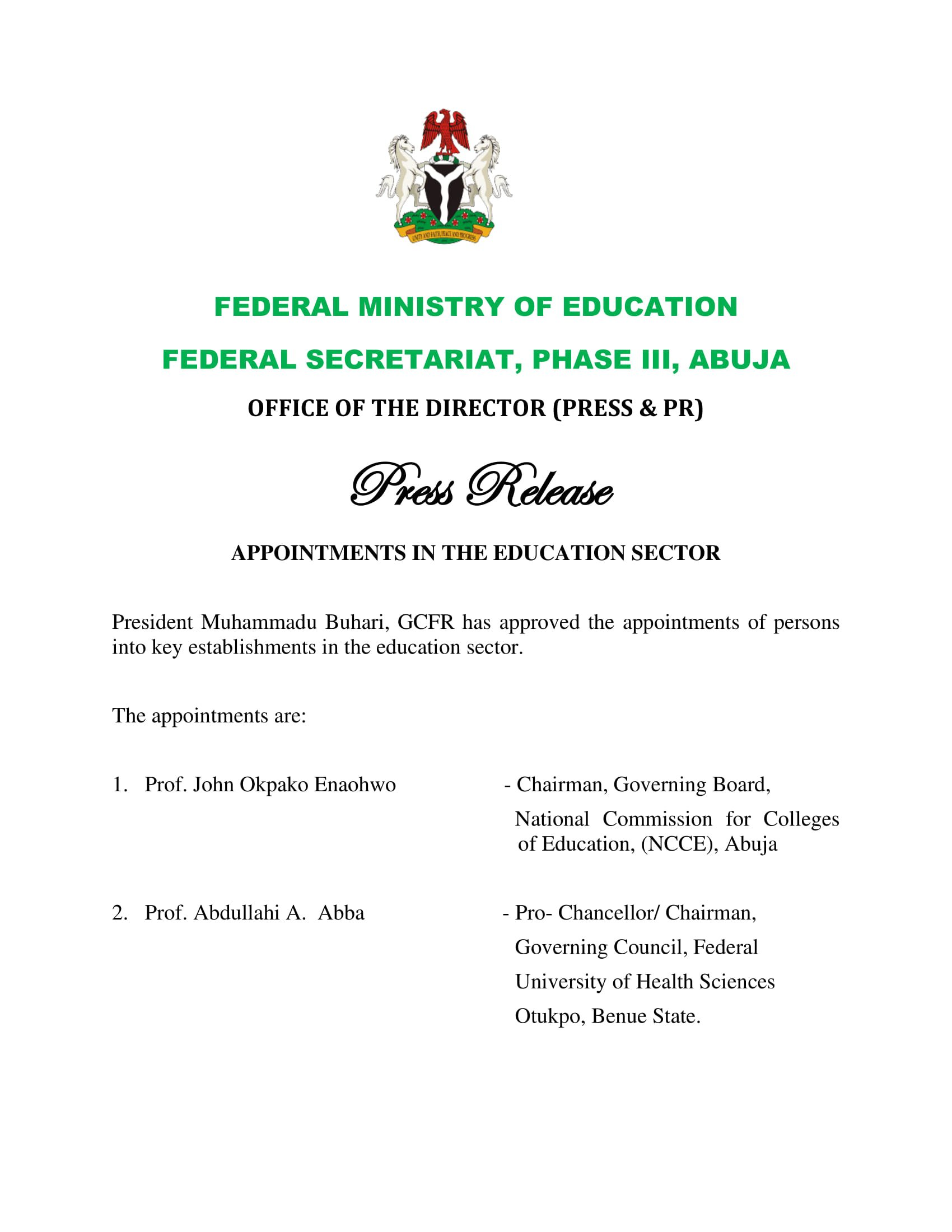 Buhari appoints persons in education sector
