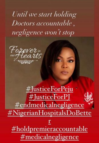 Family accuse hospital of negligence over Mrs Peju Ugboma's death